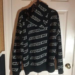 supreme jackets coats black repeat hoodie poshmark